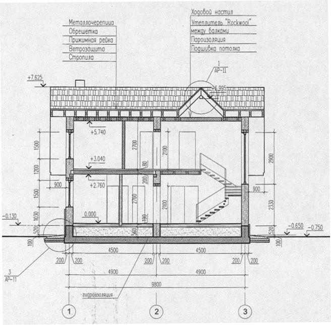 Разрез на проект дома 54-70