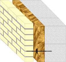 трёхслойная кладка с применением блоков ячеистого бетона.