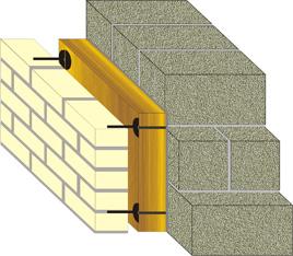 трёхслойная кладка стены с применением керамзитобетонного блока