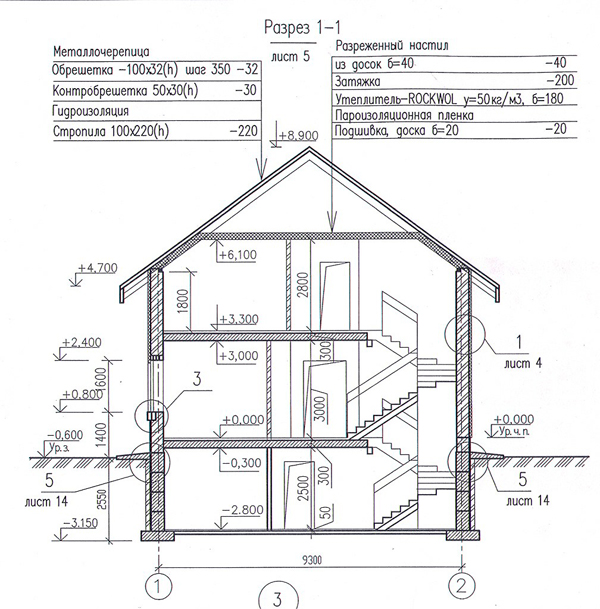 Разрез по проекту дома 34-79