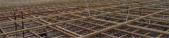 Армирование монолитной плиты стеклопластиковой арматурой.
