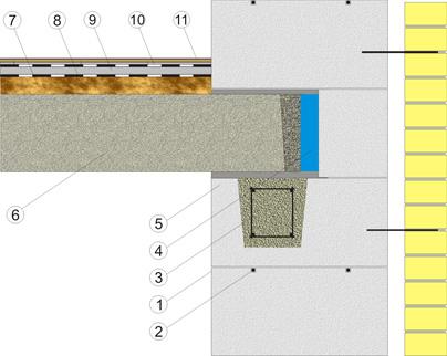 узел опоры железобетонного перекрытия в кладке стены из газосиликатных блоков