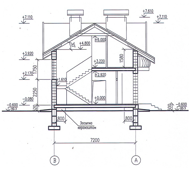Разрез по проекту дома 58-86