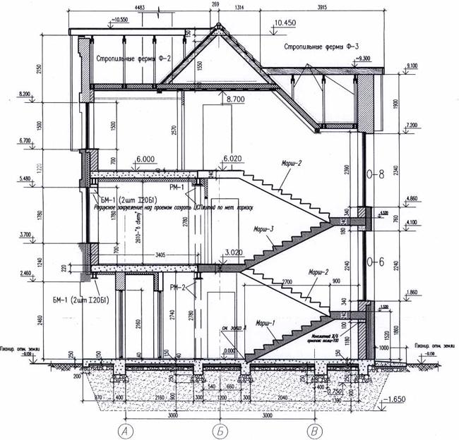 Разрез по проекту дома 31-33