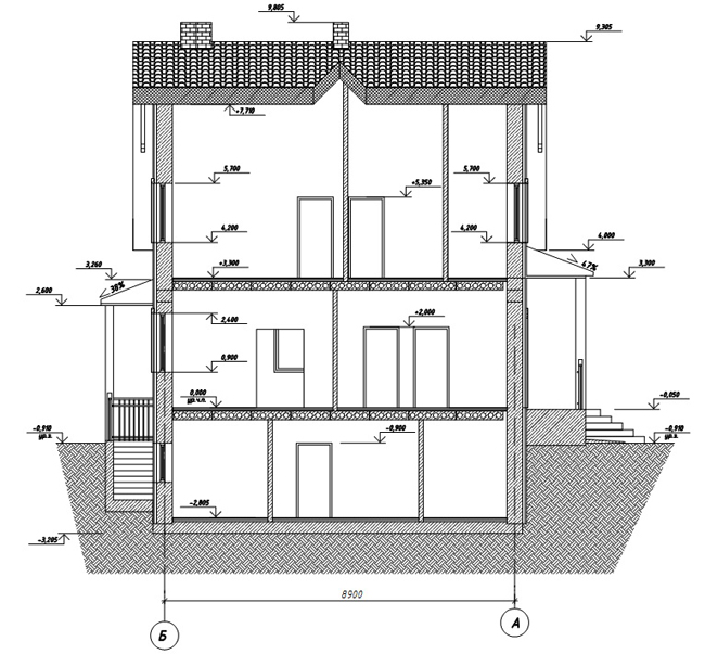 Разрез по проекту дома 59-89
