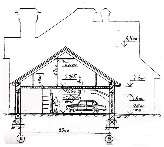 Разрез по проекту дома 32-96