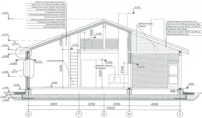 Разрез по проекту дома 79-18