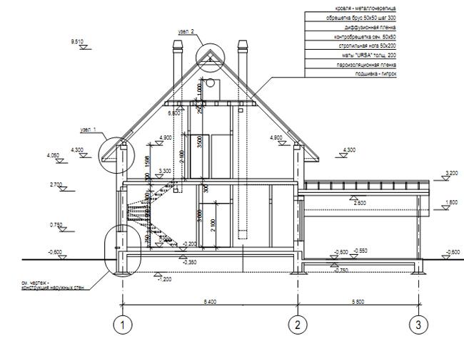Разрез по проекту дома 59-02