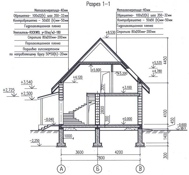 Разрез по проекту дома 58-26