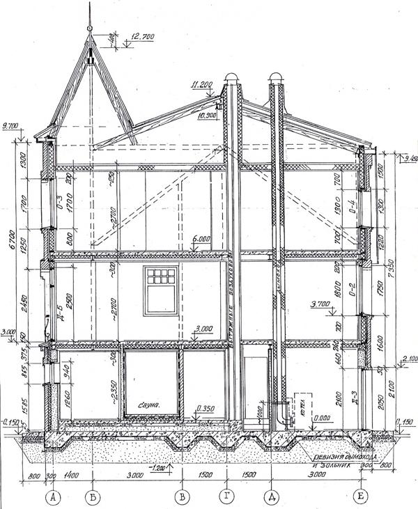 Разрез по проекту дома 80-08