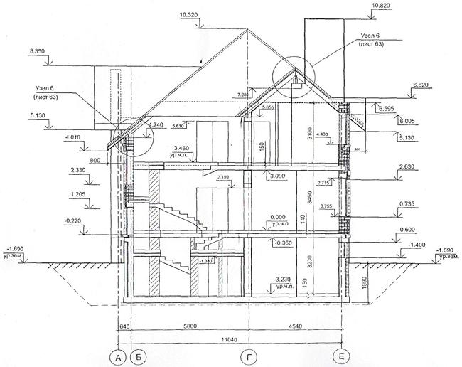 Разрез по проекту дома 35-86