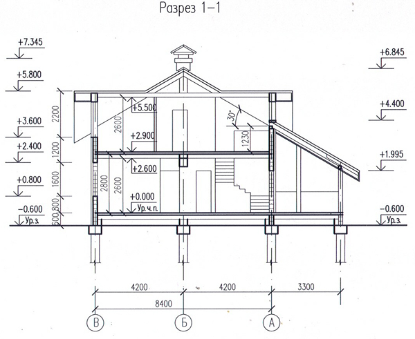 Разрез по проекту дома 59-32