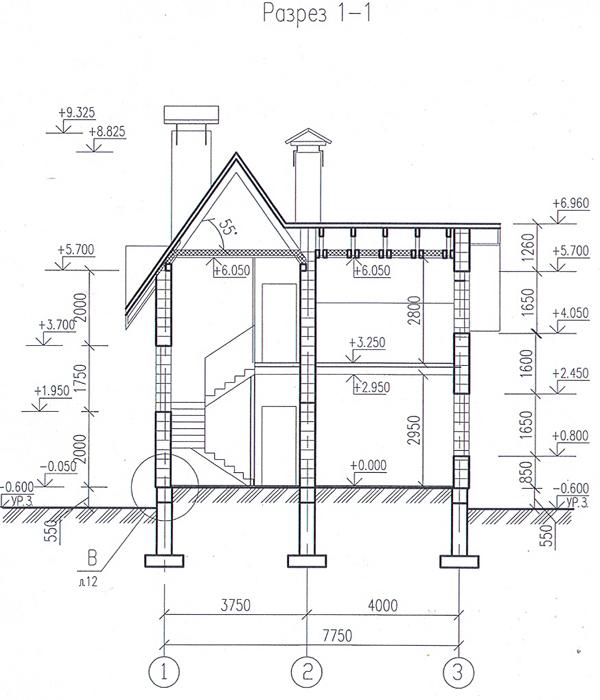 Разрез по проекту дома 59-21