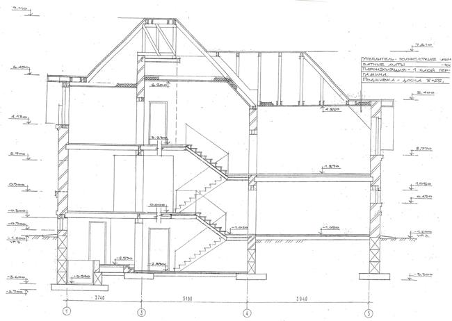 Разрез по проекту дома 30-15