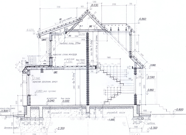 Разрез по проекту дома 19-38