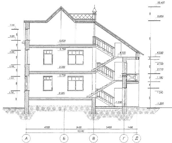 Разрез по проекту дома 80-05