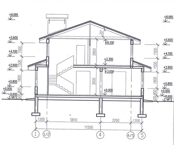 Разрез по проекту дома 58-29