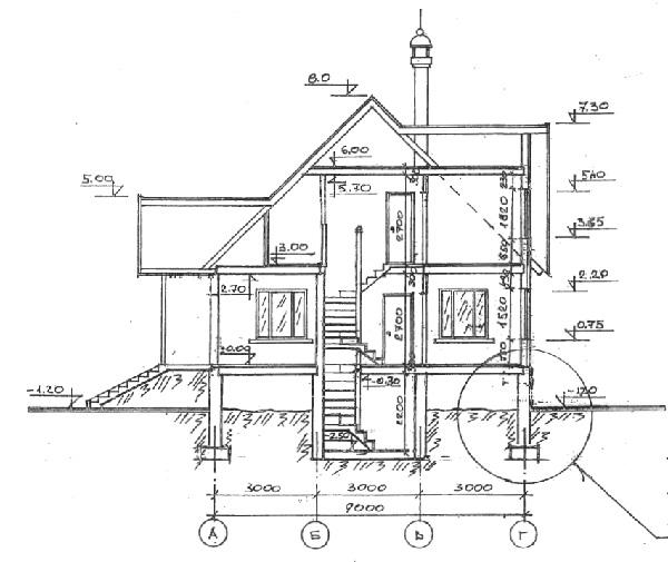 Разрез по проекту дома 52-85