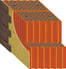 кладка холодного керамического блока под штукатурку