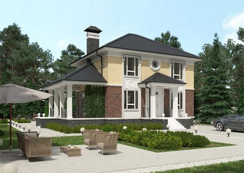 Проект двухэтажного компактного дома с пятью спальнями и боковой террасой