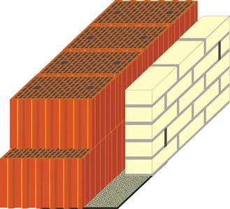 кладка керамического блока 440мм с облицовочным кирпичём