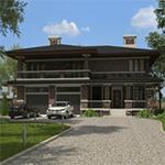 Проекты домов с встроенным гаражом на 2 машины