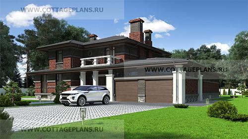 проект дома в стиле райта с полноценным вторым этажом, с бассейном и пристроенным гаражом на 2 машины