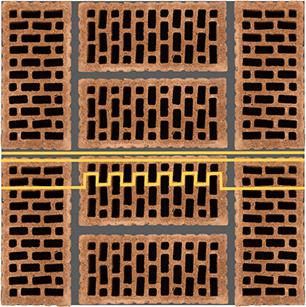 кладка двойного щелевого кирпича 510мм жёлтым показан путь движения тепового потока