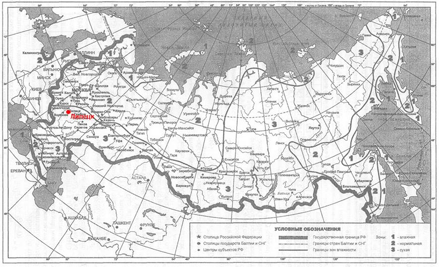 Климатическая карта влажности Липецк