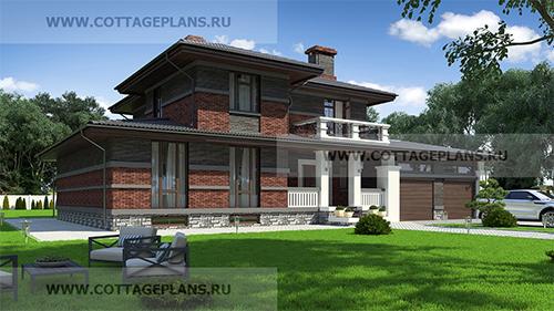 проект двухэтажного дома, с полноценным вторым этажом, с пятью спальнями, с сауной, парной в доме, с пристроенным гаражом на 2 машины, с зоной барбекю на террасе