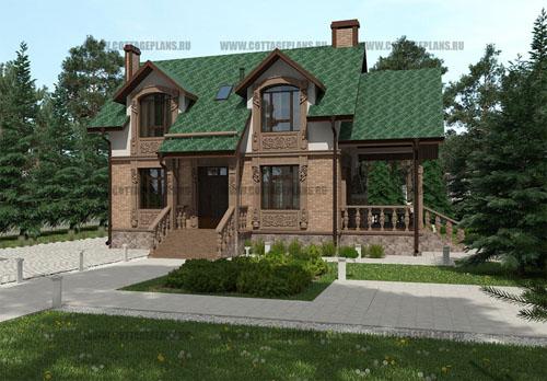 проект двухэтажного дома с мансардой, с четырьмя спальнями, с барбекю на террасе