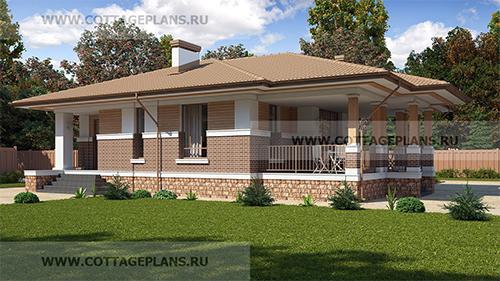 проект одноэтажного дома, с тремя спальнями, с барбекю на террасе