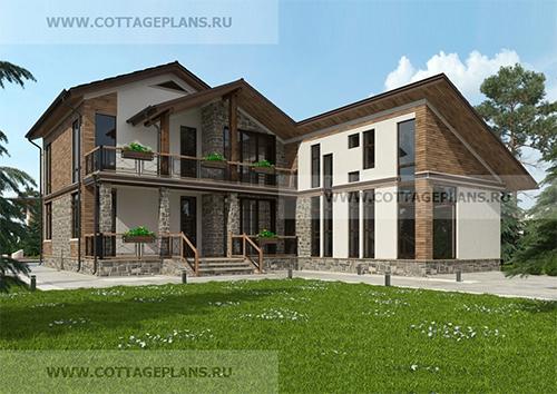 проект двухэтажного дома, с мансардой, с четырьмя спальнями, с бассейном, с цокольным этажом