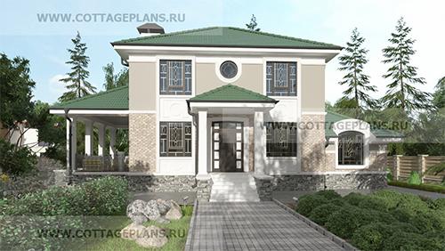 Проект двухэтажного дома, с полноценным вторым этажом, с пятью спальнями, с барбекю на террасе