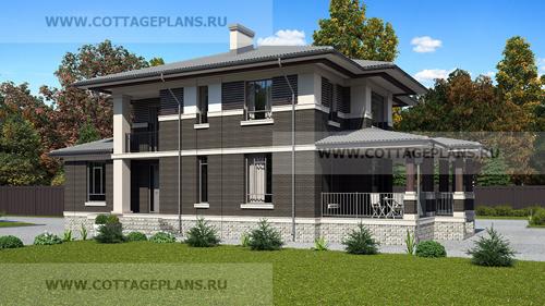 проект двухэтажного дома, с полноценным вторым этажом, со шестью спальнями, с сауной, парной в доме