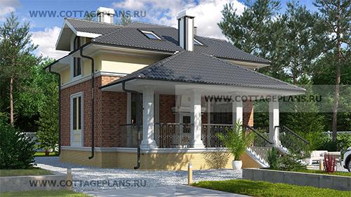 проект двухэтажного дома, с мансардой, с четырьмя спальнями, с цокольным этажом, с барбекю на террасе