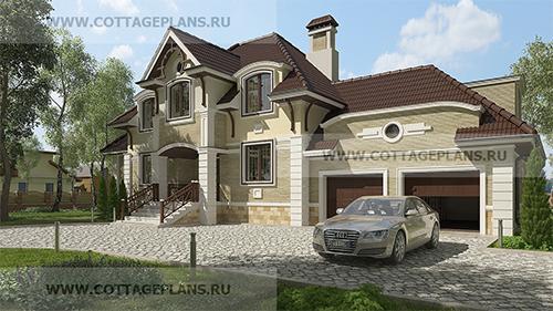 проект красивого дома с каминным залом с мансардной кровлей с гаражом на 2 машины