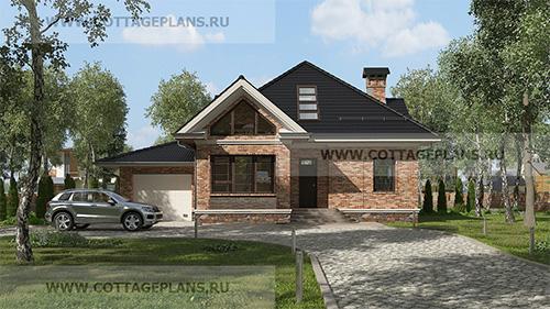проект двухэтажного дома с мансардой, с пятью спальнями, со вторым светом, с пристроенным гаражом на 1 машину