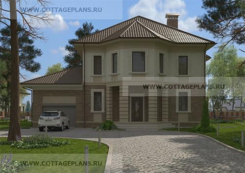 проект двухэтажного дома, с полноценным вторым этажом, с пятью спальнями, с пристроенным гаражом на 1 машину