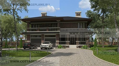 проект двухэтажного дома, с полноценным вторым этажом, с четырьмя спальнями, с встроенным гаражом на 2 машины