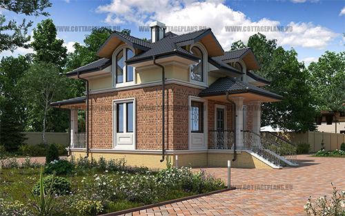 проект двухэтажного дома, с мансардой, с четырьмя спальнями и террасой