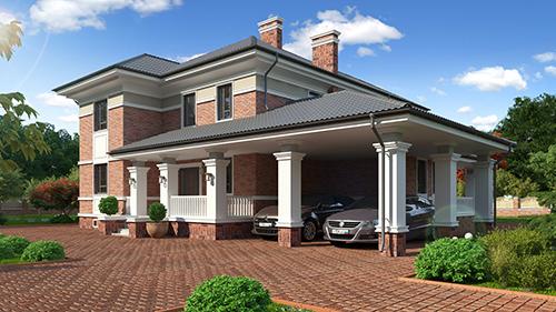 проект двухэтажного дома, с полноценным вторым этажом, с четырьмя спальнями, с цокольным этажом, с навесом на 2 машины
