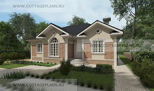 проект одноэтажного дома, с четырьмя спальнями, с барбекю на террасе