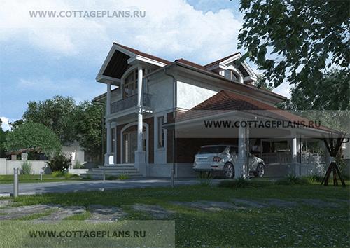 проект двухэтажного дома, с мансардой, с пятью спальнями, с навесом на 1 машину