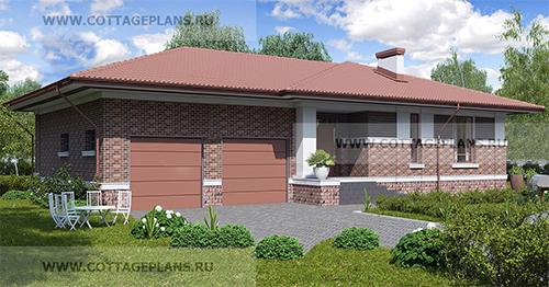 проект одноэтажного дома, с тремя спальнями, с пристроенным гаражом на 2 машины