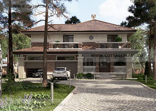 проект двухэтажного дома в стиле райта, с полноценным вторым этажом, с встроенным гаражом на 2 машины