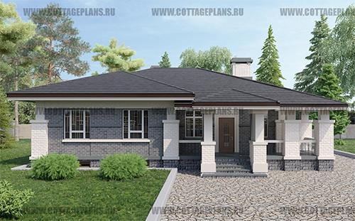 проект одноэтажного дома с сауной, парной в доме, с каминным залом и барбекю