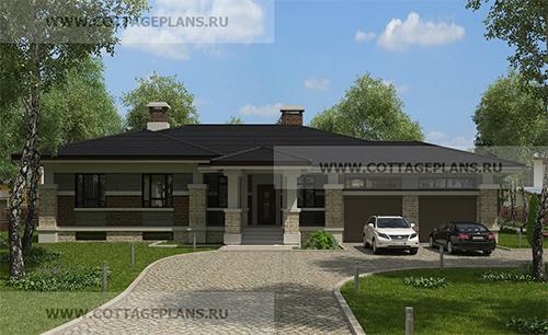 проект одноэтажного дома с 4-мя спальнями и гаражом на 2 машины