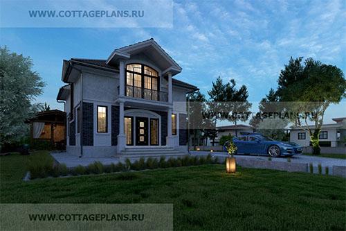 проект двухэтажного дома, с мансардой, с пятью спальнями, с цокольным этажом