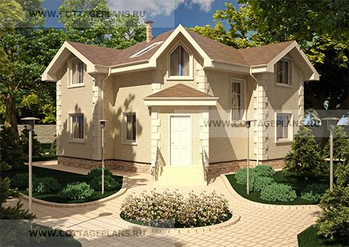 проект двухэтажного дома с мансардой, с пятью спальнями